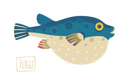 Vector illustration of a Fugu (pufferfish), cartoon style